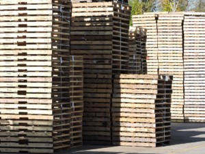 48x40 wooden pallets stacked upon one another